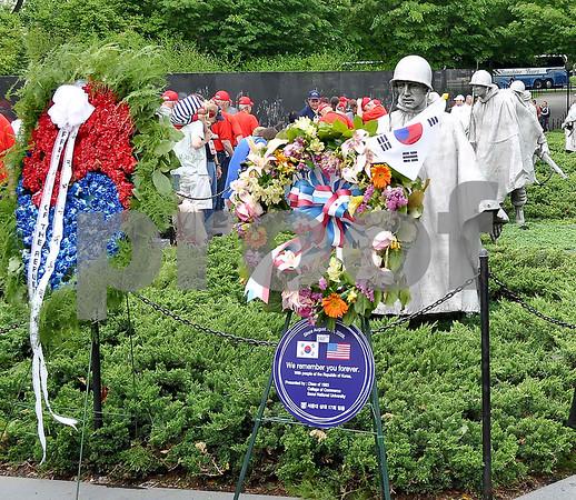 -Messenger photo by Jesse Helling<br /> Veterans from the Brushy Creek Area Honor Flight tour the Korean War Veterans Memorial in Washington D.C.