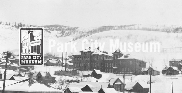 Lincoln School (no longer standing), built in late 19th century at site of present Park City Library on lower Park Avenue.   One of three schools in Park City named after US Presidents, including Washington and Jefferson, which were consolidated into the Marsac School in 1936.  (Image: 2002.26.91, Kendall Webb Collection)