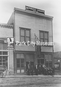 Miners' Union Hall. Built at top of Main Street; also home to the Elks, the Knights of Pythias and the Knight of Columbus. circa late 1800's  (Image: 1986.10.1, David Hampshire Collection)