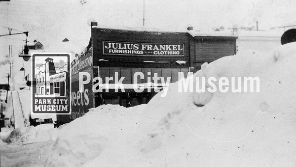 Julius Frankel came from Germany in 1881, starting his business in another building that was destroyed by the great fire of 1898.  Frankel built this store at 368 Main Street, retiring in 1918 and selling it to Max Hill.  The business closed in 1957.   Rossi Hill in background.  Circa early 1900's.  (Image: 1987.1.4, Ken Cunnington Collection)