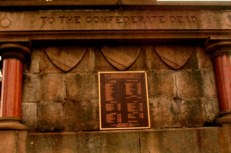 This is the base of the structure holding the Confederate Soldier standing Watch over the Fallen