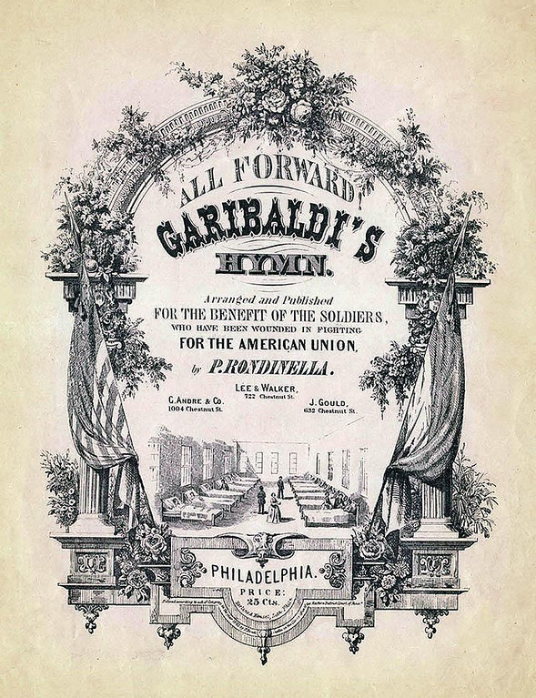Garibaldi. Sheet Music Cover. 1862<br /> <br /> [Image Copyright, the Lombardi Historical Collection, All Rights Reserved]