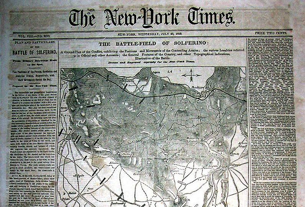 The New York Times, 7-20-1859, giving a detailed description of the Battle of Solferino, w/ map.<br /> <br /> [Image Copyright, the Lombardi Historical Collection, All Rights Reserved]