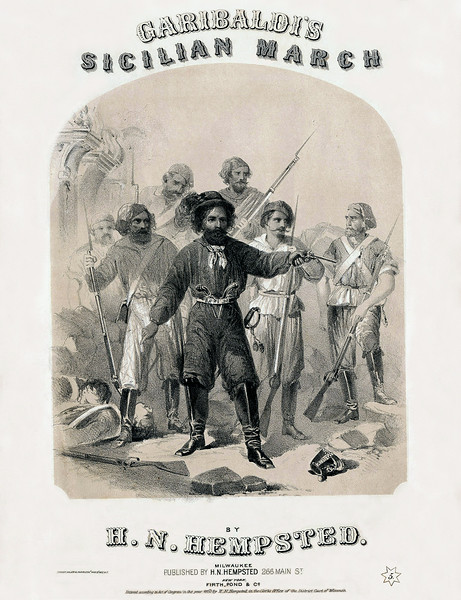 Garibaldi. Sheet Music Cover. 1860<br /> <br /> [Image Copyright, the Lombardi Historical Collection, All Rights Reserved]