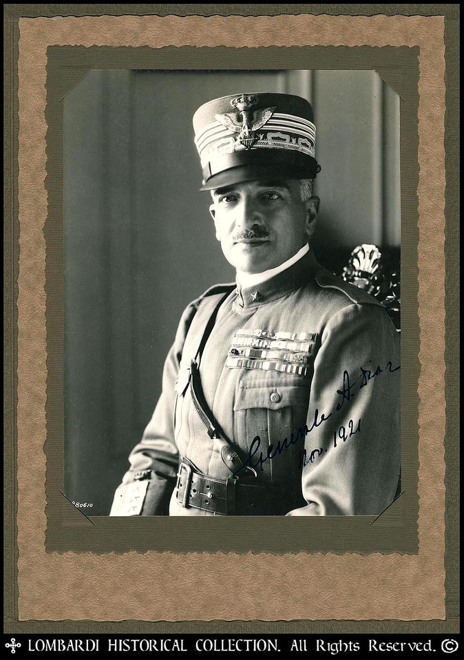 """COMMANDO SUPREMO, GENERAL ARMANDO DIAZ<br /> <br /> Autographed and dated photo of World War I Italian Commando Supremo, General Armando Diaz. (1861-1928) 6"""" x 8"""". <br /> <br /> Signed 1921 photograph of General Armondo Diaz, Italy famous WWI General,Italian when visiting the U. S.  Armando Diaz, 1st Duca della Vittoria (December 5, 1861 – February 28, 1928) was an Italian general of Spanish descent and a Marshal of Italy.<br /> <br /> Born in Naples, Diaz began his military career as a student at the Military Academy of Turin, where he became an artillery officer. He was a colonel commanding the 93rd infantry during the Italo-Turkish War, and major general in 1914. On the outbreak of World War I, he was assigned to the high command as head of the unit's operations under General Luigi Cadorna. He was promoted to 2-star general in June, 1916, and assumed the command of the 49th division and then the 23rd army corps.<br /> <br /> The Battle of Caporetto, in October 1917, was disastrous to the army, and on November 8, 1917, he was called to succeed Cadorna as chief of general staff. Having recovered what remained of the army, he organized the resistance in 1917 on the Monte Grappa massif and along the Piave River, which successfully halted the Austrian offensive. In summer of 1918 he oversaw the victory in the Battle of the Piave River and later that year led the Italian troops in the Battle of Vittorio Veneto, which ended the war on the Italian front. With his famous Bollettino della Vittoria (Victory Address) he communicated the rout of the Austrian army and victory of the Italians in the war.<br /> <br /> On November 1, 1921 Diaz was in Kansas City to attend the groundbreaking ceremony for the Liberty Memorial that was being constructed there. Also present that day were Lieutenant General Baron Jacques ofBelgium, Admiral David Beatty of Great Britain, Marshal Ferdinand Foch of France, and General John J. Pershing of the United States. One of the main speakers was Vi"""