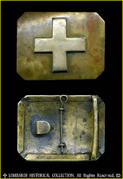 Original Italian Army Belt Plate of the RISORGIMENTO. ca. 1848-1867. Of brass and  silver Cross of Savoy. This issue belt plate was worn by many a Garibaldino Red Shirt Volunteer, and National Guard Units.