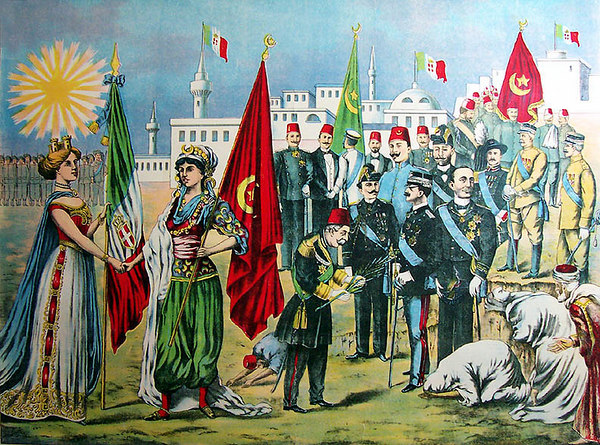 "1912 Italian-American chromolithograph depicting the Turks surrendering to King Vittorio Emanuele III of Italy after the 'Italo-Turca War' of 1911-1912. Titled, 'LA PACE ITALO=TURCA', 'The Rossotti Litho & Printing Co.'  23""x18"" [Image Copyright, the Lombardi Historical Collection, All Rights Reserved]"
