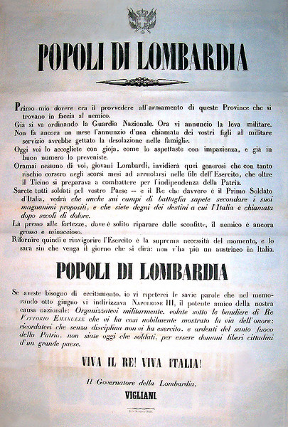 "<b>LOMBARDY BROADSIDE OF THE RISORGIMENTO</b>: June 22, 1859. 2nd War of Italian Independence. This original broadside was issued by the Governor Of Lombardy to rally the population in preparation of a great battle which was fought two days later on June 24th, 1859, and was known as the  the Battle of Solferino. 23"" x 39"".  [Image Copyright, the Lombardi Historical Collection, All Rights Reserved]"
