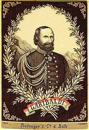"Silk of Gen. Garibaldi. Made in 1860 and so dated, by F. Weber. Trudinger & Co., a Bale', 6"" x 4"".<br /> <br /> [Image Copyright, the Lombardi Historical Collection, All Rights Reserved]"