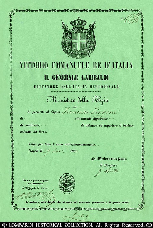 "Royal 1860 Neapolitan Police Pass, with GENERAL GARIBALDI as Dictator of Southern Italy. 9""x 12"" [Image Copyright, the Lombardi Historical Collection, All Rights Reserved]"