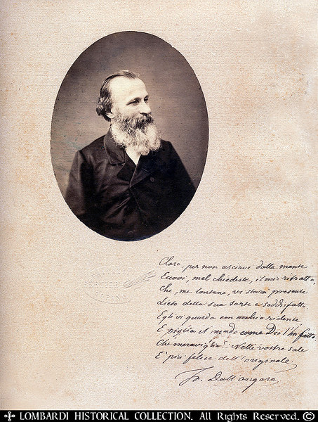 "FRANCESCO DALL'ONGARO<br /> <br /> (1808 - January 10, 1873) Italian patriot, writer, poet and dramatist. Signed photo, with note. Photo and mount by 'Fratelli Bernieri, Torino.   13""x10""  <br /> <br /> Biography:<br /> <br /> ""Born in Friuli, Dall'Ongaro was educated for the priesthood, but abandoned his orders, and taking to political journalism founded the Favilla at Trieste in the Liberal interest.<br /> <br /> In 1848 he enlisted under Garibaldi, and next year was a member of the assembly which proclaimed the republic in Rome, being given by Mazzini the direction of the Monitor officiate.<br /> <br /> On the downfall of the republic he fled to Switzerland, then to Belgium and later to France, taking a prominent part in revolutionary journalism; it was not till 1860 that he returned to Italy, where he was appointed professor of dramatic literature at Florence. Subsequently he was transferred to Naples, where he died on the in 1873.<br /> <br /> His patriotic poems, Stornelli, composed in early life, had a great popular success; and he produced a number of plays, notably Fornaretto, Bianca Cappello, Fasma and Il Tesoro. His collected Fantasie drammatiche e liriche were published in his lifetime.""-wikipedia"