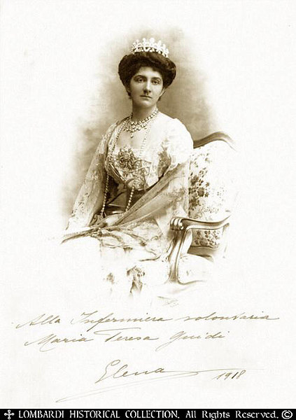 "ITALIAN QUEEN ELENA DI SAVOIA <br /> <br /> Wife of King Vittorio Emanuele III <br /> <br /> (1873-1952) Hand signed 8""x12"" World War I period photograph of Italian Queen Elena. Signed and dated 1918, praising the good work of the nurse, Maria Teresa Guidi"