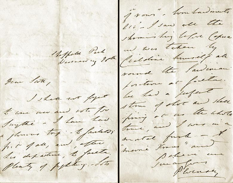 "December 26th,1860, 2 page letter by VISCOUNT  PEVENSEY  (later the 3rd EARL  OF  SHEFFIELD) an eye-witness to the Siege of Gaeta (1860). 7""x4.5""<br /> <br /> ""The Siege of Gaeta was the concluding event of the war between the Kingdom of Sardinia and the Kingdom of the Two Sicilies. It started on November 5, 1860 and ended February 13, 1861, and took place in Gaeta, in today's Southern Lazio (Italy)...Gaeta was one of the strongest military fortresses in Europe...Casualties amounted to 829 dead and 2,000 wounded for the Sicilians. Two hundred civilians fell during the siege, while the Piedmontese had 46 dead and 321 wounded.""- <a href=""http://www.answers.com/topic/siege-of-gaeta-1860"">http://www.answers.com/topic/siege-of-gaeta-1860</a><br /> <br /> He writes from 'Sheffield Park', in part: ""Dear Stan, ....I have a had a glorious trip - to Garibaldi first of all, and, after his departure, to Gaeta. Plenty of fighting. - Lots of ""arrows""[a.k.a. ""rockets""] - bombardments ect. - I saw all the skirmishing before Capua. And was taken by [General Enrico] Cialdini himself all around the Sardinian position at Gaeta. We had a perfect storm of shot and shell firing at us the whole time, and I was in a mortal funk.""<br /> <br /> [Image Copyright, the Lombardi Historical Collection, All Rights Reserved]"