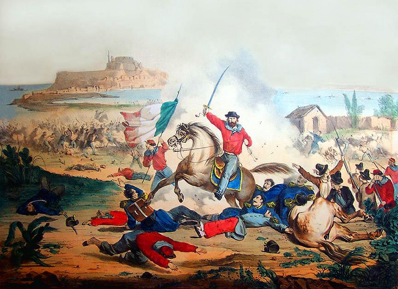 """Large 1860 Italian Battle Print. Stone Lithograph of Garibaldi and his Red Shirts at the Battle of MIlazzo. Titled at bottom border, 'COMBATTIMENTO DI MILAZZO' (20 Luglio 1860). F. Vittosi dis. Lit. A Vallardi. 24"""" x 20""""<br /> <br /> [Image Copyright, the Lombardi Historical Collection, All Rights Reserved]"""