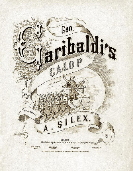 Garibaldi. Sheet Music Cover. 1859<br /> <br /> [Image Copyright, the Lombardi Historical Collection, All Rights Reserved]
