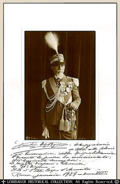 "GENERAL EMILIO DE BONO  Signed autographed photo of Italian Field Marshal, <b>General Emilio De Bono</b>. He also lists in his own hand all of his military commands prior to 1929. Emilio De Bono (1866-1944) Governor of Tripolitania (1925-29). He entered the Italian army in 1884 as a second lieutenant and rose to a place on the general staff in the Italo-Turkish war in Libya (1911). In World War I he distinguished himself against the Austrians at the Battle of Gorizia (1916) and the Battle of Mt. Grappa (October 1918). He was discharged with the rank of major general in 1920. He was among the earliest adherents of the Fascist movement and in 1922 was one of the four organizers of the famous March on Rome, which signaled the beginning of the Fascist regime. After serving as chief of police and commander of the Fascist militia, he was appointed governor of Tripolitania in 1925 and in 1929 became minister for the colonies. He later admitted that as early as 1932 he and Benito Mussolini began seriously to contemplate forcing a war upon Ethiopia. When it broke out in October 1935, he was appointed commander in chief, but after six weeks he was replaced by the more talented Gen. Pietro Badoglio, though he was rewarded with the rank of field marshal. He became inspector of Italian overseas forces in 1939 and on the eve of Italy's entry into World War II he was put in charge of the group of armies of the south. Appointed minister of state in 1942, he participated in the historic meeting of the Fascist Grand Council (July 24/25, 1943) and was among those who voted against Mussolini, thus causing the leader's downfall. When Mussolini regained power in northern Italy with German help, he had De Bono arrested, tried for treason, and executed by a firing squad along with Mussolini's son-in-law. His last words just before being shot were, ""Viva L'Italia!"" Dated January 1929. 13 7/8"" x 8 3/4"". Photo by 'F. Murie, Tripoli'."