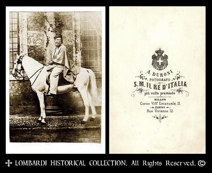 Very rare CDV of General Giuseppe Garibaldi on his horse, 'Marsala'. By Photographer A. Duroni, Fotografo, S. M. IL RE D'ITALIA. piu volte premiato. MILANO. Corso Vitt. Emanuele II. PARIGI, Rue Vivienne 12