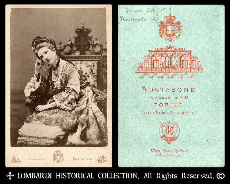 "Princess Margrethe of Savoy<br /> <br /> Cabinet Card photo of Princess Margrethe of Savoy, future Queen of Italy. From Wikipedia: Margrethe of Savoy (Turin, November 20, 1851- Bordighera, 1926), was the Queen of Italy during the reign (1878-1900) of her husband, Humbert I. She was the daughter of Ferdinand, Duke of Genoa and granddaughter of Carlo Alberto. She married her cousin Humbert (Umberto) in 1868. On November 11 , 1869, Margherita gave birth to Victor Emmanuel, Prince of Naples, afterwards Victor Emmanuel III of Italy. Namesake of Margherita, her name means ""daisy"" in Italian. She encouraged artists and writers and founded cultural institutions, notably the Società del Quartetto, and the Casa di Dante. She benefited many charities, especially the Red Cross. Image by Fratelli Marco & Giovanni Contarini, Venezia. Oct.1877 Genoa."