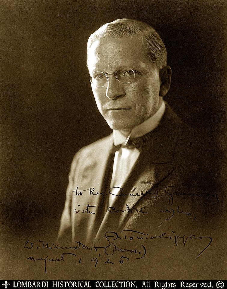 "ANTONIO CIPPICO<br /> <br /> Signed photograph ANTONIO CIPPICO (1877-1935). Italian statesman; literary and political journalist; represented Italy in League of Nations (1925-28); member of Italian Commission for Intellectual Cooperation. ISP, silver print, 8""x10"" half-length portrait. Inscribed to noted collector Rev. Cornelius Greenway ""with cordial wishes...August 1, 1925."""