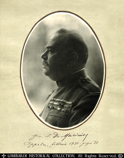 "GENERAL ALBERTO DE MARINIS<br /> <br /> Inscribed & Signed Photograph of Italian WWI General Alberto De Marinis. Commander of  Allied (Italian) Troops during Silesian Crises. Dated 1922.<br /> <br /> Inscribed: ""Gen. A. De Marinis"".  Oppelu, Febbraio 1920 - Giugno '22. 9.5"" x 12""<br /> <br /> The General Alberto De Marinis Banner, noble Ricigliano, was born in Cava dei Tirreni in 1868. Lieutenant of Artillery in 1888, he taught 'Academy of Modena, during the First World War he was promoted to the rank of colonel and promoted to higher grade for the merits of war, earning three silver medals as a brigade commander in 1917. Brigadier General in June 1918, was Commander of the Brigade Tanaro in Albania. Represented Italy in the Inter-Allied Commission in Upper Silesia and in 1922 was appointed minister at the League of Nations. In 1923 he was named Senator of the Kingdom of Italy, and in 1926 was promoted to Major General."