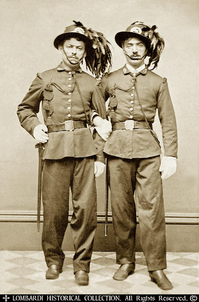 """Brothers in Arms"". Rare ca.1860's Tintype of two Italian Bersagliere"