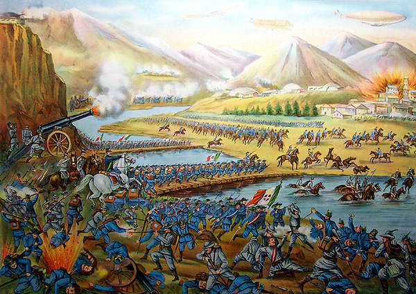 "1916 Italian-American chromolithograph showing a fanciful depiction of a Battle on the Carso.  Titled, 'LA GRANDE OFFENSIVA ITALIANA SUL CARSO', 'Nella regione di Plava le truppe Italiane al commando del Re dopo aver distrutto colle lore potenti artiglierie le trincee nemiche, lo mettono in fuga, facendo prigionieri migliaia di Austriaci'. 1916, Italian Book Co., 147 Mulberry St., New York. 23""x18"". [Image Copyright, the Lombardi Historical Collection, All Rights Reserved]"