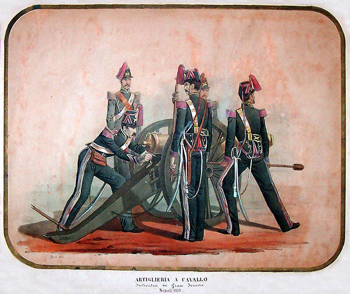 "1853 Italian Stone Lithograph titled, 'ARTIGLIERIA A CAVALLO'(Horse Cavalry). <I> Individui in Gran Tenuta</i>, Napoli 1853. 18""x15"".   [Image Copyright, the Lombardi Historical Collection, All Rights Reserved]"