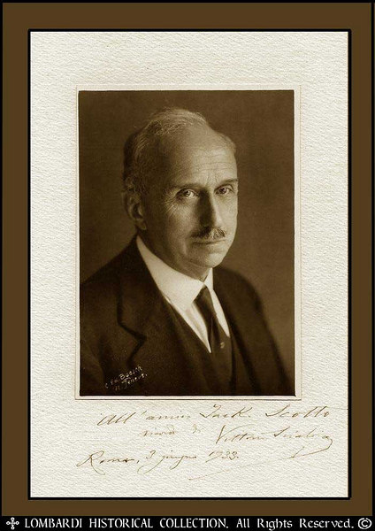 "VITTORIO SCIALOJA <br /> <br /> (1856-1933) Signed Photo, dated Rome, June 3, 1933 (9 1/2"" x 6 1/4""). Foreign Minister from 1919 to 1920 and a supporter of moderation and conciliation. Scialoja was professor of Roman law at the University of Rome and an authority on international law. He became a Senator in 1904, and served variously as Minister of Justice, Propaganda Minister, and Minister of Foreign Affairs in pre-Fascist Italian governments. Minister in the Boselli and Orlando Cabinets during World War I, and of foreign affairs under Nitti (1919-20). He represented Italy at the Paris Peace Conference in 1919, and from February 1925 he served as a delegate to the League of Nations. Although he was not a member of the Fascist Party, he appeared to have considerable personal influence over Mussolini, and is widely credited for Il Duce's presence in Locarno"
