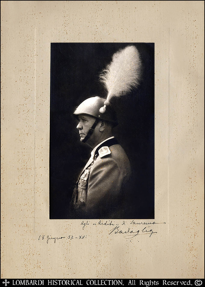 GENERAL PIETRO BADOGLIO<br /> <br /> Marshal of Italy Pietro Badoglio, 1st Duke of Addis Abeba and 1st Marquess of Sabotino <br /> <br /> Signed autographed photo of Italian General Pietro Badoglio,  (born Sept. 28, 1871, Grazzano Monferrato, Italy—died Nov. 1, 1956, Grazzano Badoglio [formerly Grazzano Monferrato]), general and statesman during the dictatorship of Benito Mussolini (1922–43). In September 1943 he extricated Italy from World War II by arranging an armistice with the Allies.<br /> <br /> Badoglio entered the Italian army in 1890 as an artillery officer and fought in the Ethiopian campaign of 1896 and in the Italo-Turkish War (1911–12). In World War I he distinguished himself by planning and directing the capture of Monte Sabotino on Aug. 6, 1916. Although his forces suffered defeat in the Battle of Caporetto on Oct. 24, 1917, he emerged from the war a high-ranking general and conducted the armistice talks for the Italians. He was chief of the Italian general staff from 1919 to 1921. Initially lukewarm to Mussolini, Badoglio remained outside of politics for one year after the March on Rome (1922). He then served briefly as ambassador to Brazil before Mussolini named him chief of staff once again on May 4, 1925. He was made a field marshal on May 26, 1926.<br /> <br /> He governed Libya from 1928 to 1934 with the title of marquis of Sabotino. He assumed command of the Italian forces in Ethiopia in 1935 and captured Addis Ababa, the capital, where he remained for a short time in 1936 as viceroy of Ethiopia. He later received the title of duke of Addis Ababa.<br /> <br /> In 1940 he differed with Mussolini over Italy's preparations for entering World War II. On Dec. 4, 1940, in the midst of Italy's disastrous campaign in Greece, he resigned as chief of staff and disavowed responsibility for Mussolini's acts. It is not clear, however, whether his objections were tied to concerns over morals or military strategy. In any case, upon the downfall of Mussolini 