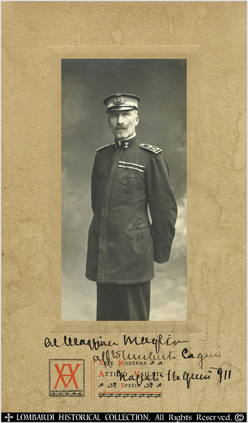 "ADMIRAL UMBERTO CAGNI<br /> <br /> Admiral Umberto Cagni, Count of Bu Meliana. Arctic Explorer. Hand signed autographed photo from 1911. 6"" x 10"".<br /> <br /> (1863-1932) Italian Marine Officer who in 1900 commanded the first Arctic expedition to achieve furthest North after Nansen.<br /> <br />  Italian admiral and explorer. After many explorations (Alaska, North Pole, Nile river), he was admiral of the Italian fleet during the First World War. <br /> <br /> ""In 1899, with a crew of Italian and Norwegian explorers, on the Stella Polare, a 60-ft. whaling vessel, Abruzzi commanded an expedition into the Arctic, determined to achieve, if possible, what Nansen four years earlier had barely failed in the discovery of the North Pole. After a year of intense hardship the expedition withdrew but not until one of the sled parties under Capt. Umberto Cagni had penetrated to a latitude of 80 33', 229.15 statute miles from the Pole and almost 20 nautical miles farther north than any explorer had yet reached. <br /> <br /> He had, moreover, determined the northern coast of Franz Josef Land and the non-existence of Petermann Land. He told the story of this expedition in On the ""Polar Star"" in the Arctic Sea (1903).""-THE NEW INTERNATIONAL YEAR BOOK: A COMPENDIUM OF THE WORLD'S PROGRESS FOR THE YEAR 1933<br /> <br />   ""Admiral Umberto Cagni, a really heroic figure, who has taken his share in many arduous adventures. The first to recognise his rare qualities was the Duke of the Abruzzi. With his sure discerning eye for men of worth, he at once selected him as his companion on his scientific expeditions. It was during the Polar exploration of 1899-1900 that this companionship ripened into a close friendship. The important part played by Cagni during this expedition has been minutely and faithfully recorded in the Prince's book. <br /> <br /> The party left Archangel on the Stella Polare, the vessel the Duke had bought in Norway and fitted up and equipped for a Polar expedition. After great difficulties, caused by the state of the ice, the vessel reached the bay of Teplitz in Prince Rudolph's Land, where they were forced to pitch their tents and winter. For six sunless months they camped here, their sled expeditions proving fruitless owing to the bad state of the ice, which made it perilous, not to say impossible, to proceed further north. Meanwhile they had to watch the vessel that was to reconduct them home slew to one side and hear her crack and groan under the relentless pressure of the ice-blocks. <br /> <br /> When the spring came at last, an expedition was organised under the command of Cagni. The Duke, to his intense regret, could not join it, two of his ringers having been frozen during a reconnaissance he had made in the course of the winter. The sled expedition was divided into three sections, which were to remain away a certain number of days. The second party returned to camp at the appointed time ; the first was never heard of again, and the names of its members must be added to the martyrology of the Pole ; the third, led by Cagni, reached lat. 86 33', thus beating Nansen's record, but was forced to turn back owing to lack of provisions, to Cagni's keen disappointment. The return journey proved even more trying than the outward one; and in the end, in order to keep body and soul together, the party was obliged to kill and eat the faithful dogs which had carried them so far in safety a necessity which grieved Cagni deeply.<br /> <br />  This Arctic expedition tried the physical fibre of all its members severely, and left indelible traces behind it. Cagni on his return to Italy had to have a finger amputated in consequence of frost-bite. Nothing daunted, however, he resumed his naval career, and was soon after appointed Commander.<br /> <br />  In 1911 the Tripoli campaign took place, when Cagni was the hero of a notable exploit. He had been chosen to command a small landing corps consisting for the most part of young sailors and mid-shipmen belonging to the training-ships Emanuel Filiberto, Sicilia, and Carlo Alberto. They were sent off to occupy the town of Tripoli and maintain order. This was believed to be an easy task, as the Turks had retired into the interior and the Arab notables had given assurance that there was no danger.<br /> <br /> It was, however, a trap, and on October 12, 1911, Cagni and his handful of youths had to make a fierce fight near Ba-Meliano against Turks and Arabs in overwhelmingly superior numbers. It was due entirely to the extraordinary ability of Cagni, his personal valour and cool- headedness, that these young sailors not only conquered in the fight, but were able to hold the town for a week, to build entrenchments round it and repel the foe, thus paving the way for the landing of the expeditionary force under General Caneva. <br /> <br /> Cagni, by a series of clever ruses quite Homeric in character, led the enemy to believe that he commanded a strong force, making his men run here and appear there, wherever he thought the Turks meditated an attack. These really daring manoeuvres, and the manner in which Cagni's men carried out the orders of their adored and blindly trusted commander, earned for them the name of "" Garibaldians of the sea,"" of which they are justly proud. <br /> <br /> Various honours were bestowed upon them, they were feted on their return home, and Cagni himself was promoted to the rank of rear-admiral. Now he is once more called into action, and Italy may confidently look for yet other  bold deeds from this dauntless sailor, whose ruses and resources emulate those of the wily Ulysses himself."" - 'ITALIAN LEADERS OF TO-DAY', by HELEN ZIMMERN, 1915.<br /> <br /> [Image Copyright, the Lombardi Historical Collection, All Rights Reserved]"