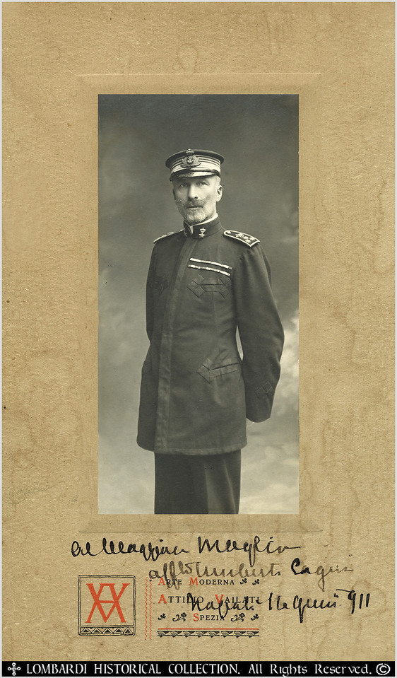 """ADMIRAL UMBERTO CAGNI<br /> <br /> Admiral Umberto Cagni, Count of Bu Meliana. Arctic Explorer. Hand signed autographed photo from 1911. 6"""" x 10"""".<br /> <br /> (1863-1932) Italian Marine Officer who in 1900 commanded the first Arctic expedition to achieve furthest North after Nansen.<br /> <br />  Italian admiral and explorer. After many explorations (Alaska, North Pole, Nile river), he was admiral of the Italian fleet during the First World War. <br /> <br /> """"In 1899, with a crew of Italian and Norwegian explorers, on the Stella Polare, a 60-ft. whaling vessel, Abruzzi commanded an expedition into the Arctic, determined to achieve, if possible, what Nansen four years earlier had barely failed in the discovery of the North Pole. After a year of intense hardship the expedition withdrew but not until one of the sled parties under Capt. Umberto Cagni had penetrated to a latitude of 80 33', 229.15 statute miles from the Pole and almost 20 nautical miles farther north than any explorer had yet reached. <br /> <br /> He had, moreover, determined the northern coast of Franz Josef Land and the non-existence of Petermann Land. He told the story of this expedition in On the """"Polar Star"""" in the Arctic Sea (1903).""""-THE NEW INTERNATIONAL YEAR BOOK: A COMPENDIUM OF THE WORLD'S PROGRESS FOR THE YEAR 1933<br /> <br />   """"Admiral Umberto Cagni, a really heroic figure, who has taken his share in many arduous adventures. The first to recognise his rare qualities was the Duke of the Abruzzi. With his sure discerning eye for men of worth, he at once selected him as his companion on his scientific expeditions. It was during the Polar exploration of 1899-1900 that this companionship ripened into a close friendship. The important part played by Cagni during this expedition has been minutely and faithfully recorded in the Prince's book. <br /> <br /> The party left Archangel on the Stella Polare, the vessel the Duke had bought in Norway and fitted up and equipped for a Polar expedition. Af"""