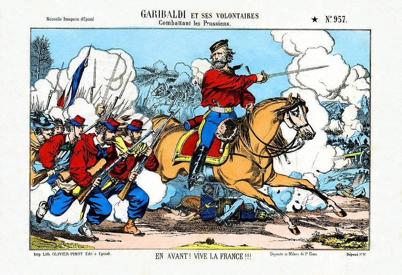 "1870 Hand colored French litho, titled at top border, 'GARIBALDI ET SES VOLONTAIRES (Combattant Les Prussiens). Bottom border, ""EN AVANT! VIVE LA FRANCE"". No. 957, Nouvelle Imagerie d'Epinal. Imp. Lith. OLIVEIR-PINOT Edit. a Epinal. Desposito in Milano de P. Clerc. Depose P.V. 16 1/2"" x 12"" [Image Copyright, the Lombardi Historical Collection, All Rights Reserved]"