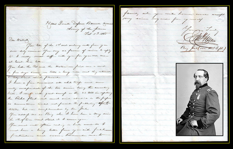 "U.S. Brig. General Edward Ferrero 1865 Letter Re Rebel Fleet<br /> <br /> Defences of Bermuda Hundreds Army of The James<br /> <br /> An autograph letter signed by Brigadier General Edward Ferrero. Dated at Headquarters Defenses Bermuda Hundreds Army of James Feb 5, 1865.<br /> <br /> Reads:<br /> <br /> ""Dear Walcott. Your letter of the 1st inst. enclosing note from your sister duly received. You say no favor of mine to reply to. I really must differ with you over my last letter. Your brother the Col. and the Western one paid me a visit a few days since we took a long ride and they returned to City Point much pleased. I have a fine command all White troops and am really independent of the ten armies being the connecting link. I met with great success in the 23 inst. in repeling the Rebel Fleet. Not much said about it in the papers as circumstances would not permit the publicity. The details but was complimented by the Genl. You address me as Brig when I have been a Maj. since the 1st of Dec. can't stand it I assume you. You mustwrite often writing in haste won't do. I must have a long letter from you with full particulars and soon. Remember me to family when you write home and swift my sincere regards for yourself. Yours Truly, Edw Ferrero Brig Genl (over the left). ""<br /> <br /> An Italian-American, Edward Ferrero (January 18, 1831 – December 11, 1899) was one of the leading dance instructors, choreographers, and ballroom operators in the United States. He also served as a Union Army general in the American Civil War, best remembered for his role in the Battle of the Crater in 1864. Ferrero was born in Granada, Spain. His parents were natives of Italy, and had just arrived in Spain when their son was born. Thirteen months later, the family moved to the United States and settled in New York City. Ferrero's father, a noted dancer and a personal friend of the revolutionary soldier Garibaldi, soon opened a dance academy. When the elder Ferrero retired in his early fifties, Edward took over operation of the academy. He educated the wealthy and elite of New York society in the art of dance, and originated many dances that spread in popularity throughout the country. Ferrero became renowned as one of America's leading experts in dance. He worked part-time as a dance instructor at the United States Military Academy and was the author of The Art of Dancing in 1859. Ferrero was interested in military affairs from his association as a youth with Garibaldi, and from his uncle, Colonel Lewis Ferrero, who had served in the Crimean War and the Italian campaign. Edward Ferrero became the lieutenant colonel of the 11th New York Militia Regiment, serving for six years in the militia organization. With his skills in choreography and instruction, his troops soon became known for their parade ground precision and military drill. With the outbreak of the Civil War in early 1861, Ferrero raised a regiment at his own expense, the 51st New York (the ""Shepard Rifles""). He was commissioned as its first colonel and drilled the regiment in military procedures. He led a brigade of three regiments in Maj. Gen. Ambrose Burnside's expedition to Roanoke Island, where his regiment seized the first fortified Confederate redoubt captured in the war. He also commanded a brigade at New Bern under Brig. Gen. Jesse L. Reno. Transferred northward with his brigade to Virginia in the summer of 1862, he served in the army of John Pope during the Northern Virginia Campaign, including the Second Battle of Bull Run. In September, he served at the battles of South Mountain and Antietam, where his brigade was a part of the Union IX Corps and stormed Burnside's Bridge. For his personal bravery at Antietam, the dancer-turned-warrior was promoted to brigadier general of volunteers on September 19, 1862. His first action as a general was at Fredericksburg. Sent to the Western Theater along with the IX Corps in early 1863, Ferrero led his brigade with distinction during the Siege of Vicksburg. He subsequently commanded a division during the Knoxville Campaign, and was in command of the defenses of Fort Sanders. Transferred eastward again in 1864 with the corps, he served in the Siege of Petersburg, commanding a division of black troops. His men were involved in the ill-fated July 30 charge on the Crater, where they suffered significant losses supporting the initial attack of Brig. Gen. James H. Ledlie's division. On December 2, 1864, Ferrero was breveted major general for ""bravery and meritorious services."" He served throughout the Appomattox Campaign in early 1865. Ferrero mustered out of the army on August 24, 1865, and returned home to New York City. He chose not to reopen his previous dance academy, but instead leased a building in a new location, eventually turning it into a world-famed ballroom known as Apollo Hall. In 1872, he terminated his lease and the building was converted into a theater. Ferrero leased the ballroom of Tammany Hall for his academy and joined the Tammany Society, becoming socially active in Democratic political circles, although he never ran for office. He was active in veterans affairs, including the Grand Army of the Republic and the Loyal Legion. He also joined the Freemasons. He published a second best-selling book, The History of Dancing, which remains in print today. He leased the Lenox Lyceum in January 1889 and continued as one of the country's foremost dance instructors for another decade. He retired in May 1899 when he became ill with a variety of ailments that claimed his life by the end of the year. Ferrero died in New York City and is buried in Green-Wood Cemetery, Brooklyn. <br /> <br /> The Army of the James was a Union Army that was composed of units from the Department of Virginia and North Carolina and served along the James River during the final operations of the American Civil War in Virginia. The Union Departments of Virginia and North Carolina merged in 1863. Troops from these departments formed the XVIII Corps. In April, 1864, the X Corps was transferred from the Department of the South and the two corps formed the Army of the James. Major General Benjamin F. Butler was placed in command. During Lieutenant General Ulysses Grant's Overland Campaign in 1864, Butler made several unsuccessful attempts at Petersburg and Richmond. At the Battle of Cold Harbor the XVIII Corps was sent to act under the Army of the Potomac. The XVIII Corps also participated in the Siege of Petersburg. During the siege the Army of the James was mainly involved in the investment of Richmond. Butler's only major success as commander of the army was in September, 1864, at the Battle of Chaffin's Farm, in which the army took a significant portion of the Confederate works guarding Richmond, including Fort Harrison. In December the Army was reorganized and the XVIII and X Corps were for the time discontinued. All the black troops in the army were formed into the XXV Corps and the white troops into the XXIV Corps and the Departments of Virginia and North Carolina were separated. Units from the former XVIII Corp and X Corps were formed into the ""Fort Fisher Expeditionary Corps"" and sailed to Fort Fisher. Butler used his position as department commander to assume personal command of the expedition, but after his failure at the First Battle of Fort Fisher, Grant took the opportunity to relieve Butler of command. Major General Edward Ord, hero of Chaffin's Farm, was placed in command of the Army of the James. Under Ord's leadership the Army of the James was to achieve its greatest success. The XXIV Corps participated in the final assaults on Petersburg, while the XXV Corps was the first unit to enter the fallen city of Richmond. Ord and the XXIV Corps followed the Confederates to Appomattox Court House where they cut off Robert E. Lee's escape route. The Army of the James was then present at the surrender of the Army of Northern Virginia.  <a href=""http://en.wikipedia.org/wiki/Edward_Ferrero"">http://en.wikipedia.org/wiki/Edward_Ferrero</a>"