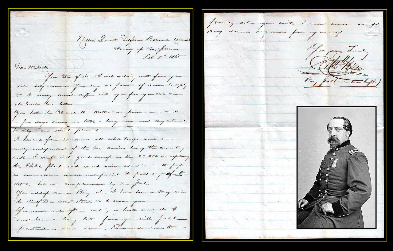 """U.S. Brig. General Edward Ferrero 1865 Letter Re Rebel Fleet<br /> <br /> Defences of Bermuda Hundreds Army of The James<br /> <br /> An autograph letter signed by Brigadier General Edward Ferrero. Dated at Headquarters Defenses Bermuda Hundreds Army of James Feb 5, 1865.<br /> <br /> Reads:<br /> <br /> """"Dear Walcott. Your letter of the 1st inst. enclosing note from your sister duly received. You say no favor of mine to reply to. I really must differ with you over my last letter. Your brother the Col. and the Western one paid me a visit a few days since we took a long ride and they returned to City Point much pleased. I have a fine command all White troops and am really independent of the ten armies being the connecting link. I met with great success in the 23 inst. in repeling the Rebel Fleet. Not much said about it in the papers as circumstances would not permit the publicity. The details but was complimented by the Genl. You address me as Brig when I have been a Maj. since the 1st of Dec. can't stand it I assume you. You mustwrite often writing in haste won't do. I must have a long letter from you with full particulars and soon. Remember me to family when you write home and swift my sincere regards for yourself. Yours Truly, Edw Ferrero Brig Genl (over the left). """"<br /> <br /> An Italian-American, Edward Ferrero (January 18, 1831 – December 11, 1899) was one of the leading dance instructors, choreographers, and ballroom operators in the United States. He also served as a Union Army general in the American Civil War, best remembered for his role in the Battle of the Crater in 1864. Ferrero was born in Granada, Spain. His parents were natives of Italy, and had just arrived in Spain when their son was born. Thirteen months later, the family moved to the United States and settled in New York City. Ferrero's father, a noted dancer and a personal friend of the revolutionary soldier Garibaldi, soon opened a dance academy. When the elder Ferrero retired in his early fi"""