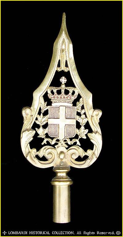 """Royal Italian Flag Pole Cap. 13""""x5"""". Cast brass."""
