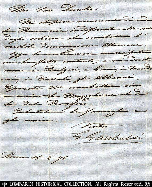 "Signed letter by General Giuseppe Garibaldi (1807-1882), Rome 2/15/1876, discussing the political and military situation of the Balkan states. 8 1/2"" x 10 1/2"", 1 page"