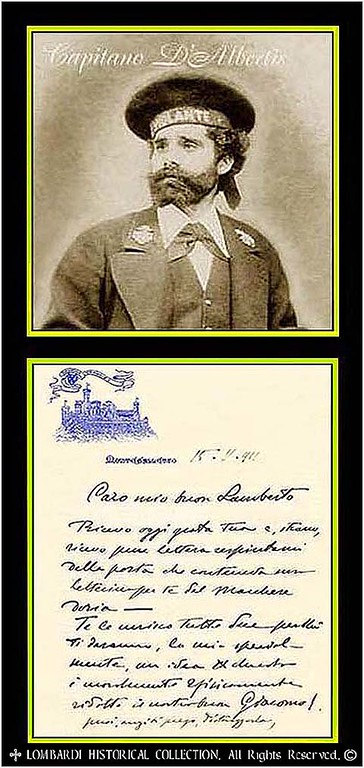"CAPTAIN ENRICO ALBERTO D'ALBERTIS<br /> <br /> (1846-1932), Rare ALS, 2 pgs. Dated Genoa, November 15, 1911 (7 1/4"" x 5 1/2"") on his personal stationary with Castle D'Albertis letterhead. An Italian Navy officer, Genoese seaman and Explorer, deeply rooted in his own culture and open to the discovery of others. He re-travelled over the routes of Columbus, and wrote fascinating travel adventure novels. He roamed the world and traveled to America, visiting San Francisco, California, in the late 1800s. He then journeyed overland by mule train and came to an area that forms the present day Hopi Indian Reservation. In 1886 he acquired the ruins of the bastion of Montegalletto in Genoa, opposite the Forte San Giorgio on the 15th-century town-walls. He had rebuilt the bastion as a castle in medieval style: the Castello d'Albertis. The building shows many architectonic elements of emblematic buildings of the former Genoa, and antique marbles, a splendid portal of 15th century, one gun of the 1500's found in the dock, and a multitude of works of art. But the castle was also expression of D'Albertis's devotion to Columbus, to whom numerous works of art and several elements refer. He had gathered his great archaeological and ethnographical collections from his countless journeys to Africa, the Americas, South East Asia and Oceania."