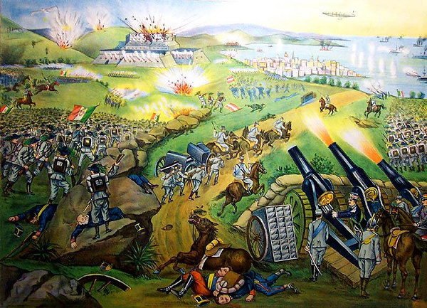 "1916 Italian-American chromolithograph showing a fanciful depiction of the Battle of Gorizia. Titled, 'LA GRANDE BATTAGLIA DI GORIZIA', 'Le truppe Italiane in vista Trieste. Il Redirige personalmente il fuoco delle artiglierie'. 1916, Italian Book Co., 147 Mulberry St., New York. 23""x18"". [Image Copyright, the Lombardi Historical Collection, All Rights Reserved]"