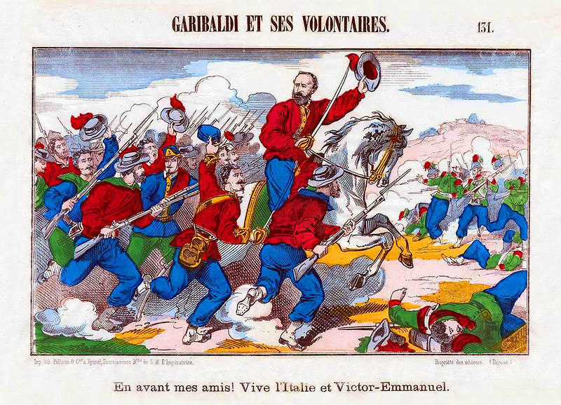 "1860 Hand colored Battle litho. Titled: 'GARIBALDI ET SES VOLONTAIRES. Bottom border, ""EN AVANT MES AMIS! VIVE L'ITALIE ET VICTOR-EMMANUEL"". No. 131, Imp. Lith. Pellerin & Cie. a Epinal, Fournisseurs B.tes de S.M.L'Imperattrice. 16 1/2"" x 12"". France, 1860. [Image Copyright, the Lombardi Historical Collection, All Rights Reserved]"