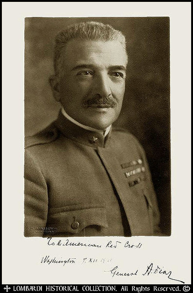 "COMMANDO SUPREMO, GENERAL ARMANDO DIAZ<br /> <br /> Historicaly important autographed photo of Italian Commando Supremo, General Armando Diaz. 11 1/2"" x 9 1/2"". Photo by Harris & Ewing, Washington, D.C. Inscription in his own hand, reads: ""To the American Red Cross. Washington 7. XII. 1921. General A. Diaz"", signed to the Red Cross while in Washington for the dedication of the Memorial to the Unknown Soldier. It was the first and last time all of the Supreme Commanders of the Allied Forces of the Great War were gathered together in one place. <br /> <br /> Armando Diaz was born in 1861. He joined the Italian Army and was a successful field commander in the Turkish War (1911-12) and was a member of the general staff under General Luigi Cadorna on the outbreak of the First World War in August 1914. Diaz was given a divisional command in May 1915 and was one of the more successful generals during the Isonzo Offensive and the victory at Gorizia in August 1916. Following the disastrous Battle of Caporetto, October 24, 1917, in which all the fruits of earlier campaigns were lost, Diaz succeeded Cadorna as commander-in-chief of the Italian armies. In nine days, June 15-23, 1918, Diaz decisively repulsed a great Austrian offensive designed to crush the Italian armies, driving the Austrians back across the Piave and inflicting enormous losses. After four months' preparation, Diaz began, October 24, a tremendous counterattack against the Austrian lines in Italy. These soon began to crumble under his well-directed blows. A series of increasing successes resulted at the end of ten days in the total collapse and rout of the Austrian forces. When Austria, on November 4, accepted terms of truce, a virtual surrender which hastened the impending downfall of Germany, the Italian armies under Diaz had captured 300,000 prisoners, 5,000 guns, and military booty valued at about a billion dollars. This victory by Diaz ranks as one of the most overwhelming in military history. In 1921 Benito Mussolini appointed Diaz as his war minister. He retained the post until his promotion to field marshal and retirement in 1924. Armando Diaz died in 1928."