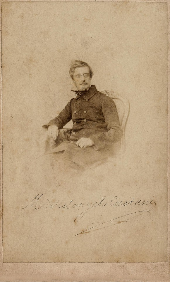 """DON MICHELANGELO CAETANI<br /> <br /> Autographed CDV of  Nobleman and Italian Statesman Michelangelo Caetani (1804-1882). <br /> <br /> """"Belonging to an old family of Italian (the death of his father Henry became 13th Duke of Sermoneta and 3rd Prince of Teano ) was educated at home, under the guidance of tutors, but attended some others) and became interested in particular in art and literature . With regard to the visual arts, he frequented the studios of sculptors Bertel Thorvaldsen and Peter Tenerani, the painter Minardi, and the goldsmith Fortunato Pio Castellani. With the latter, and his sons, on the contrary, it was an artistic partnership: Michelangelo Caetani drew antique style jewelry that Castellani realizzavano, and which are partly preserved in the National Etruscan Museum of Villa Giulia in Rome. He was a well-respected Dante scholar .<br /> <br /> He was on positions of liberalism a moderate: he did not like the extremists and appreciated Pellegrino Rossi . He devoted himself to the administration of family property, which was able to bring in surplus. It was police minister in the government of Cardinal Bofondi (1846 - 1848). He was in correspondence with Carlo Troya and Michele Amari. After the taking of Porta Pia, became President of the Government, Junta of the city, and then the first in the list of First Citizens of Rome, and he led the deputation which led to Vittorio Emanuele II, the votes of the plebiscite of Rome, and was elected two times to the Italian Parliament. He received the Annunziata .<br /> <br /> He married Calixta Rzewuska, whose grandfather had been Wenceslas Severyn Rzewuski, known  Polish Orientalist. His son Onorato was Minister of Foreign Affairs of the Kingdom of Italy, the daughter Ersilia was an archaeologist, the first woman to have been allowed to 'Accademia dei Lincei'. """"<br /> <br /> This early CDV has no Backmark."""