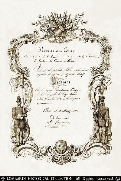 RISORGIMENTO DISCHARGE CERTIFICATE: Issued to National Guard Captain Luigi Fontana on March 18, 1860 in the Province of Como. [Image Copyright, the Lombardi Historical Collection, All Rights Reserved]