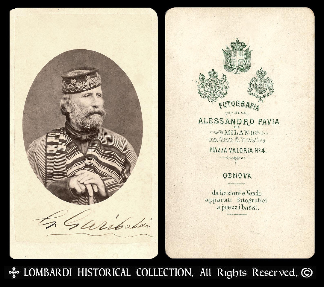 """GIUSEPPE GARIBALDI<br /> <br /> Hand signed autographed CDV of Garibaldi, by Photographer Allessandro Pavia, taken in Milano, ca. 1867<br /> <br /> General Giuseppe Garibaldi (July 5, 1807–June 2, 1882) """"Italy's greatest patriot and soldier of the Risorgimento. He personally led many of the military campaigns that brought about the formation of a unified Italy. He was called the """"Hero of the Two Worlds"""", in tribute to his military expeditions in South America and Europe.""""-Wikipedia"""