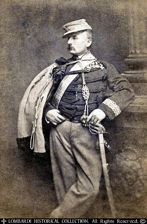"""Rare CDV of Garibaldi's General, Nino Bixio. Photographer, A. Duroni, Milano. <br /> <br /> """"General Nino Bixio(2 October 1821 - December 16, 1873) was an Italian soldier, who fought for the Italian unification. Born in Genoa, while still a boy Bixio was compelled by his parents to embrace a maritime career. After numerous adventures he returned to Italy in 1846, joined the Giovine Italia, and, on 4 November 1847, made himself conspicuous at Genoa by seizing the bridle of Charles Albert's horse and crying, """"Pass the Ticino, Sire, and we are all with you.""""<br /> <br /> He fought through the campaign of 1848, became captain under Giuseppe Garibaldi at Rome in 1849, taking prisoners an entire French battalion, and gaining the gold medal for military valour. In 1859 he commanded a Hunters of the Alps battalion, fought in the Battle of Varese, and gained the Military Cross of Savoy.<br /> <br /> Joining the Marsala expedition in 1860, he turned the day in favor of Garibaldi at Calatafimi, was wounded at Palermo, but recovered in time to besiege Reggio in Calabria (21 August 1860), and, though again wounded, took part in the Battle of the Volturno, where his leg was broken.<br /> <br /> Elected deputy in 1861, he endeavoured to reconcile Cavour and Garibaldi. In 1866, at the head of the seventh division, he covered the Italian retreat from the Battle of Custoza, ignoring the Austrian summons to surrender. Created senator in February 1870, he was in the following September given command of a division during the movement against Rome, took Civitavecchia, and participated in the general attack upon Rome (20 September 1870). He died of cholera at Aceh Bay in Sumatra en route for Batavia, where he had gone in command of a commercial expedition (16 December 1873).""""- Wikipedia<br /> <br /> Bixio's courage was such that in the Battle of April 30th, 1849, he captured Colonel Picard by ridding into the French battle lines under fire, and reaching down from his saddle he grabbed  Pi"""