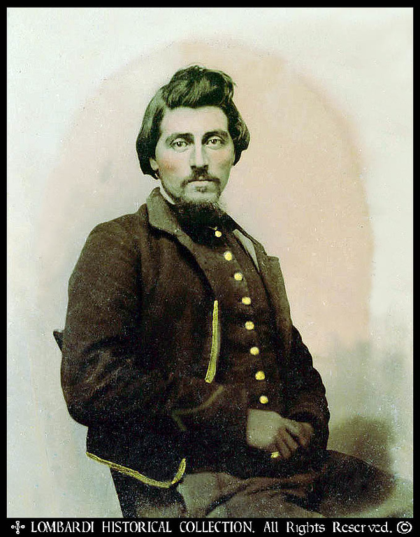 Tin Type of an Italian Cavalryman in the American Civil War. Cased with his silver I.D. Badge engraved with the initials, <i>R.M.</i>, and made from an 1863 Italian I Lire silver piece, with King Victorio Emanuele II on the obverse.