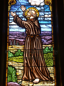 Stained glass at Asistencia Santa Ysabel.