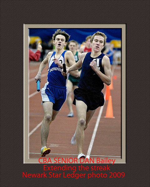 20090116AS  5/7  (left)  Connor Delaney, Monsignor Donovan, ran the 2nd leg  of the winning relay in the Boys 4x800 Relay, against CBA's Dan Bailey, during the 44th Annual Boys and Girls Indoor Track and Field State Group Relay Championships, non-public boys and girls, at The Bennett Center in Toms River on Jan. 16.   1/16/09   PHOTO BY ADENA STEVENS/FOR THE STAR LEDGER   HSSPORTS