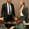 Central Falls Receiver John McJennett talks with Solicitor Richard Kirby before the session.