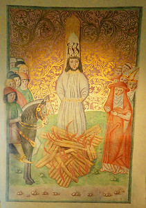 Prague - painting of John Huss in the flames; Bethlehem Chapel