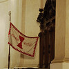 Prague - Hussite church on main city square - flag: The Truth will win; Goblet represents communion in both parts
